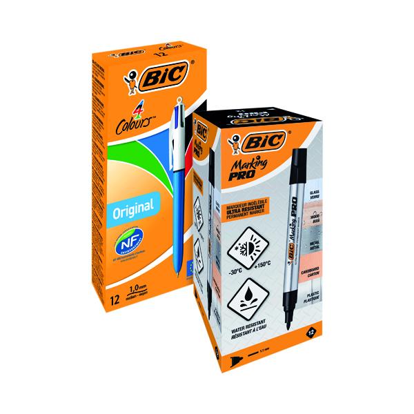 Bic 4 Colour Pen FOC Bic Permanent Markers Black (Pack of 12)