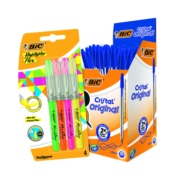Bic Cristal Medium Blue (Pack of 50) FOC Highlighter Flex
