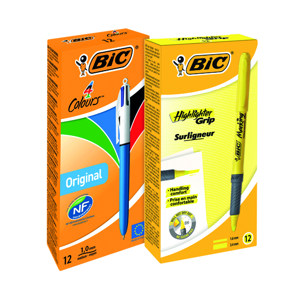 Bic 4Colours Pen (Pack of 12) FOC Brite Highlighter Yellow