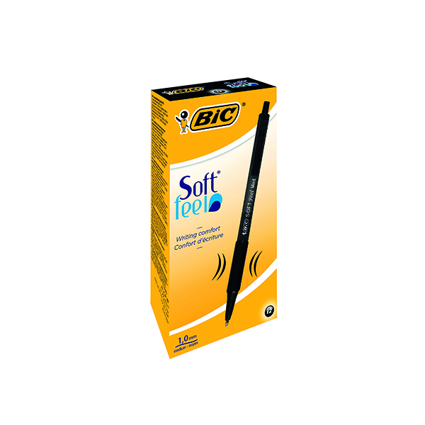 Bic SoftFeel Clic Retractable Ballpoint Pen Black (Pack of 12) 837397