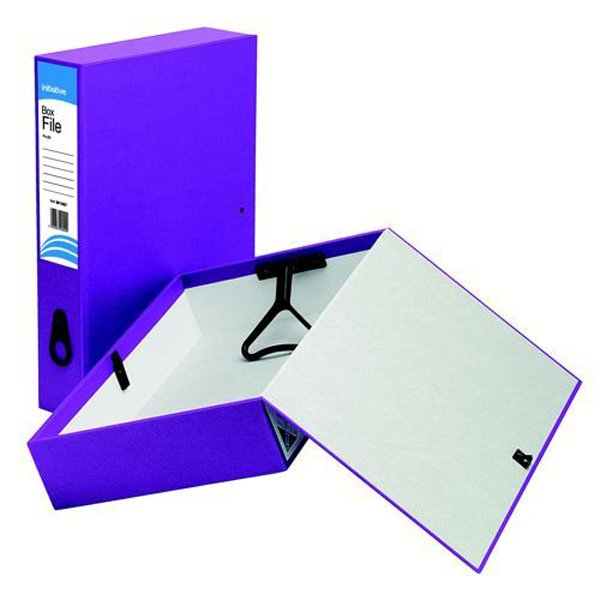 Initiative Lockspring Box File A4/Foolscap 70mm Capacity Purple