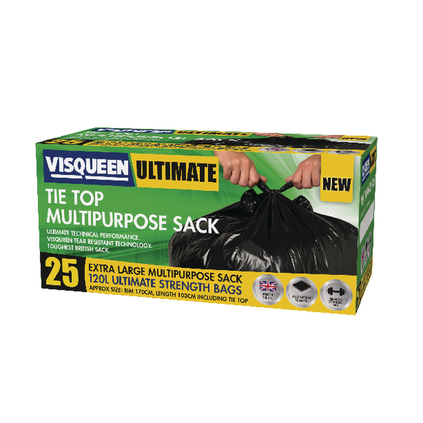 Image for Visqueen Ultimate Tie Top Multipurpose Sack 120 Litre Black (Pack of 25) RS057771