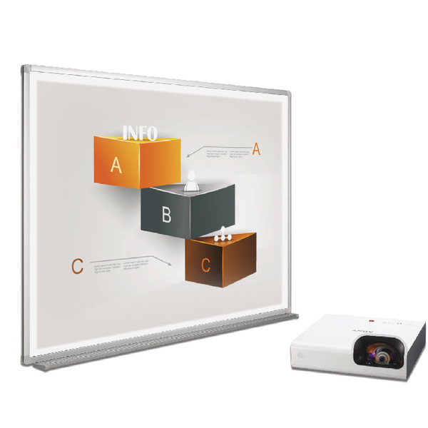 Bi-Office Bi-Bright 72in Whiteboard and Short Throw Projector Presentation Bundle BBS1891235