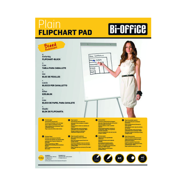 Bi-Office Plain Flipchart Pad A1 40 Sheet (Pack of 5) FL010101