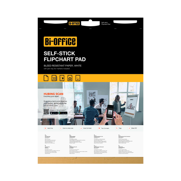 Bi-Office Self-Stick Flipchart Pad 635x780mm 30 Sheet White (Pack of 2) FL128107