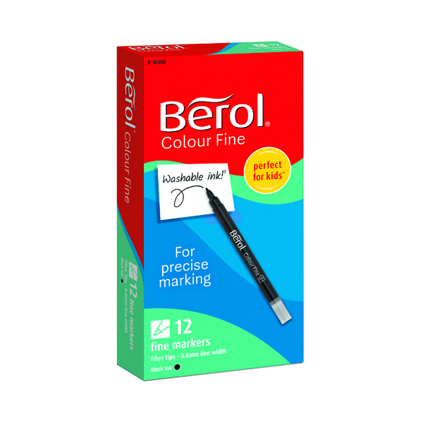 Berol Colour Fine Markers Black (Pack of 12) 2141503