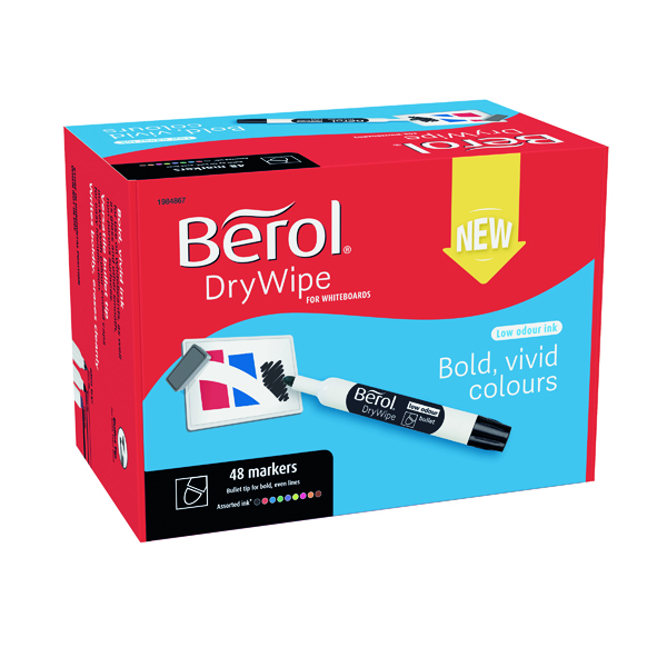 Berol Drywipe Marker Bullet Tip Assorted (Pack of 48) 1984867