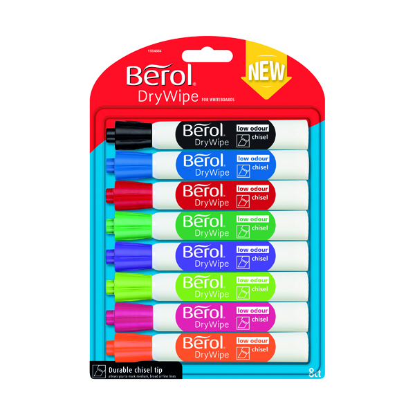 Berol Drywipe Marker Chisel Tip Assorted (Pack of 8) 1984884