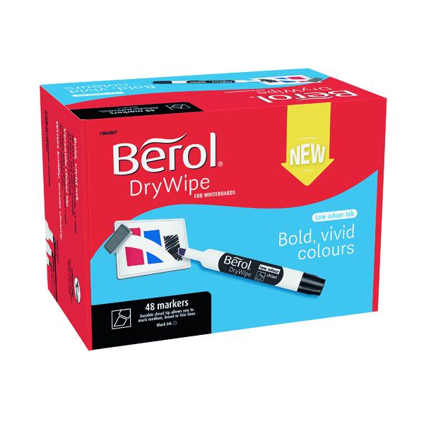 Berol Drywipe Marker Chisel Tip Black (Pack of 48) 1984887