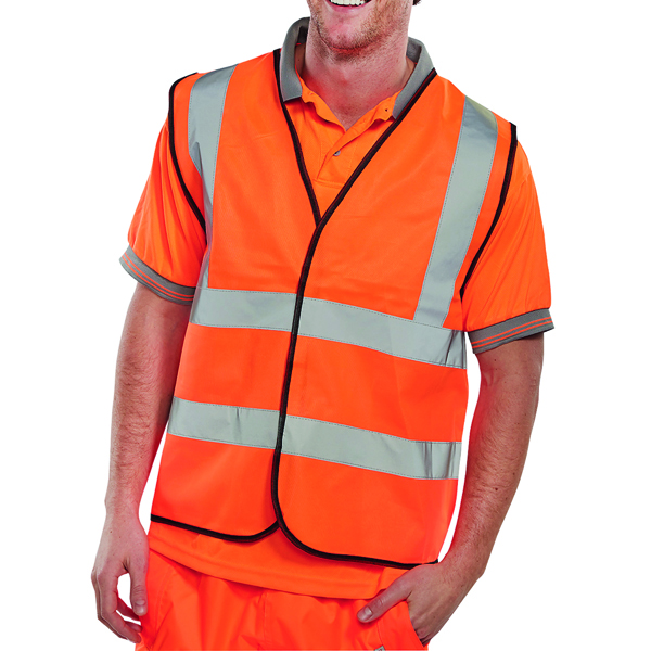 Hi-Viz Vest Orange EN ISO 20471 Large WCENGORL