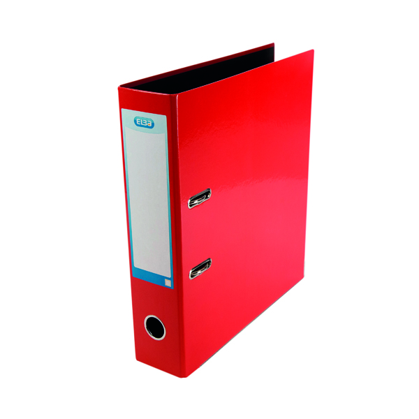 Elba Classy 70mm Lever Arch File Glossy Laminated Board A4 Red 40002