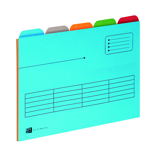 Elba 5 Tabbed Folder A4 Assorted (Pack of 5) 100330160
