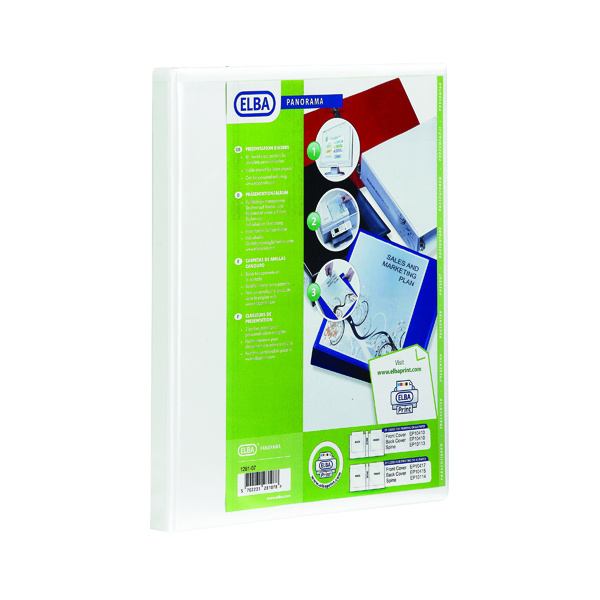 Elba Panorama 65mm 2 D-Ring Presentation Binder A4 White (Pack of 4) 400008048