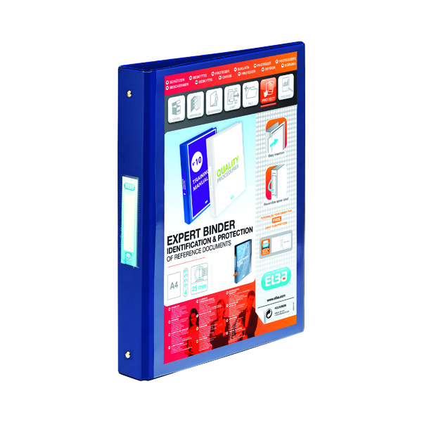 Elba Vision 25mm 4 O-Ring Binder PVC A4 Blue 100080876