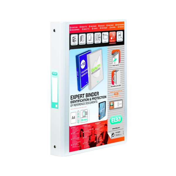 Elba Vision 2 Ring Binder Plastic Coated Board A4 White 100080889