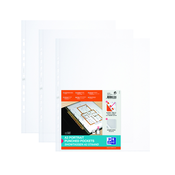 Elba Punched Pocket Polypropylene Portrait A3 Clear (Pack of 100) 100080921