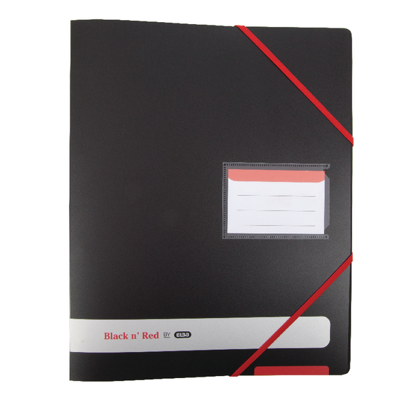 Elba Black n Red 4-Ring Binder 16mm A4 Black 400078863