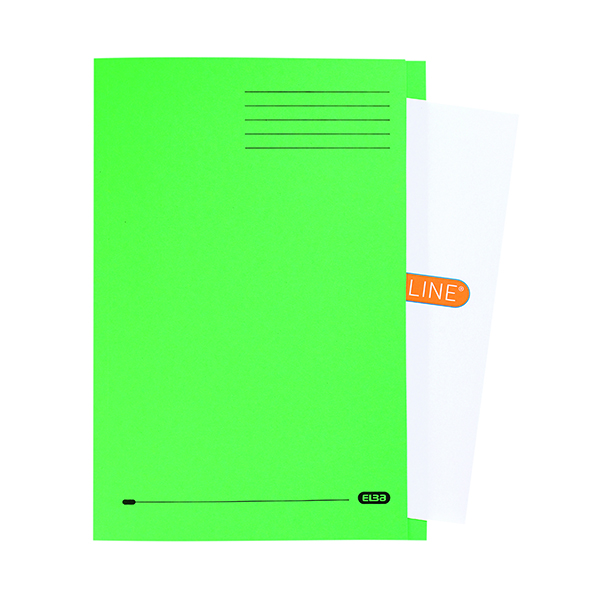 Elba 320 gsm Foolscap StrongLine Square Cut Folders, Green, Pack of 50
