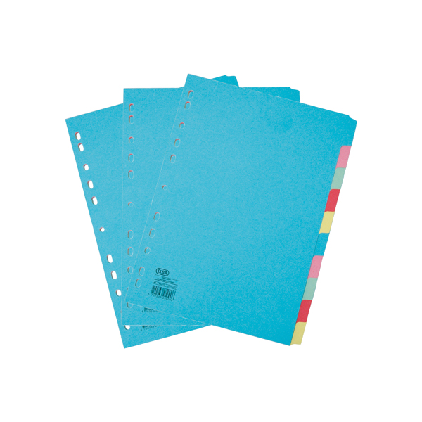Elba 10 Part Card Dividers A4 3FOR2 (Pack of 2 + 1)