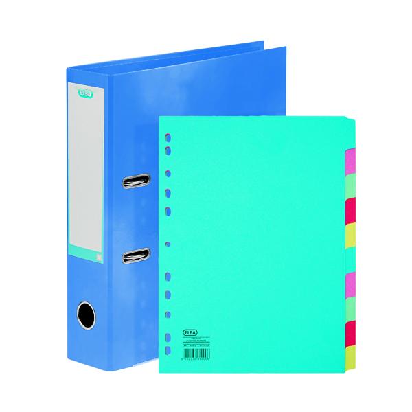 Elba Classy 70mm Lever Arch File A4 Met Blue FOC 10/Pt Divider