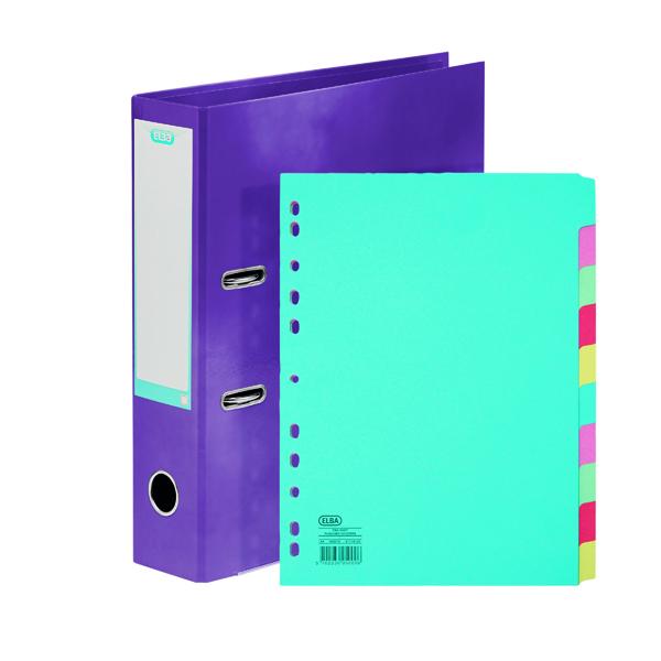 Elba Classy 70mm LeverArch File A4 Met Purple FOC 10/Pt Divider