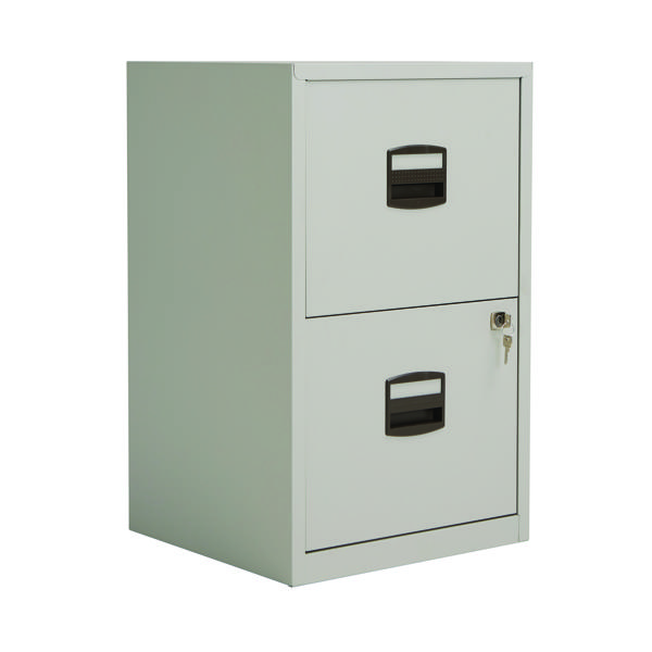 Bisley 2 Drawer A4 Home Filer Goose Grey (Dimensions: W413 x D400 x H672mm) PFA2-87