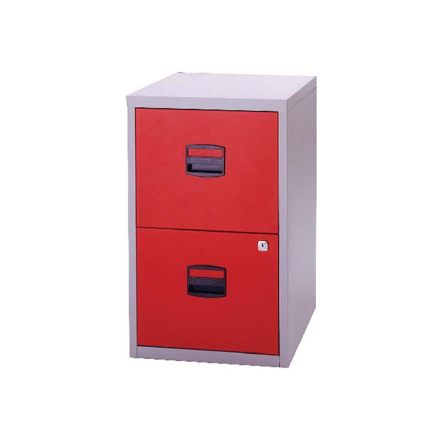 Bisley 2 Drawer A4 Home Filer Grey/Red (Dimensions: W413 x D400 x H672mm) PFA2-8794