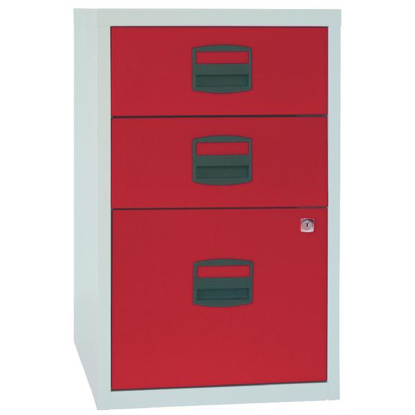 Bisley 3 Drawer A4 Home Filer Grey/Red (Dimensions: W413 x D400 x H672mm) PFA3-8794