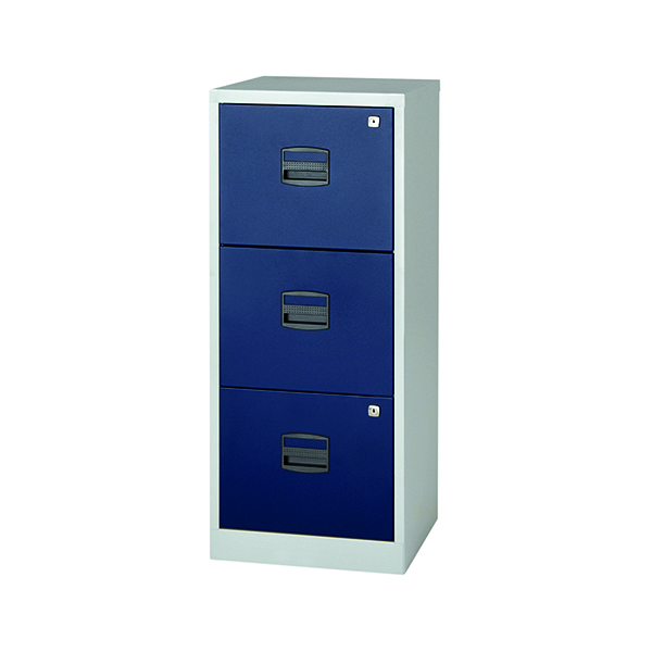 Bisley 3 Drawer A4 Home Filer Grey/Blue