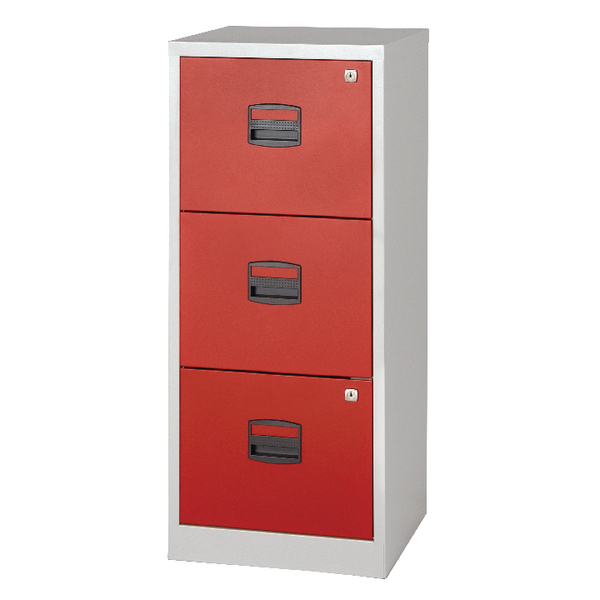 Image for Bisley 3 Drawer A4 Home Filer Grey/Red BY78728