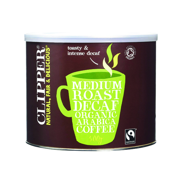 Clipper Fairtrade Organic Decaffeinated Coffee Tin 500g A06746