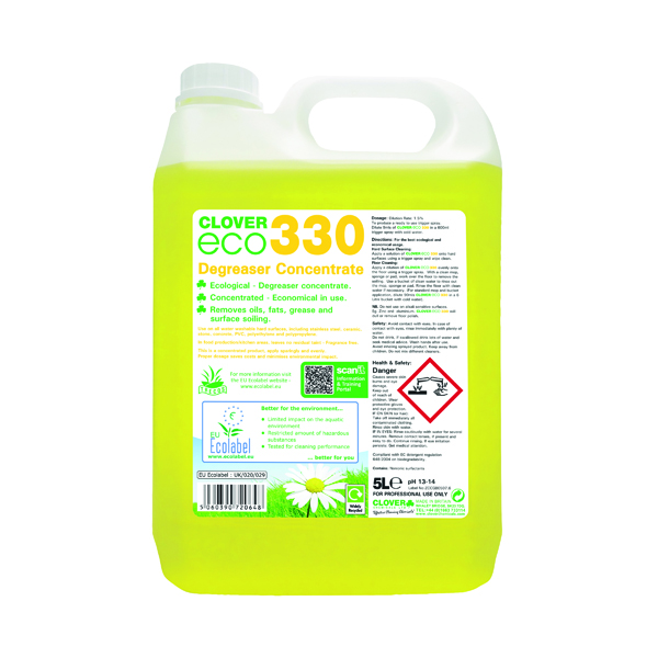 Clover ECO 330 Degreaser Concentrate 5 Litre (Pack of 2) 330