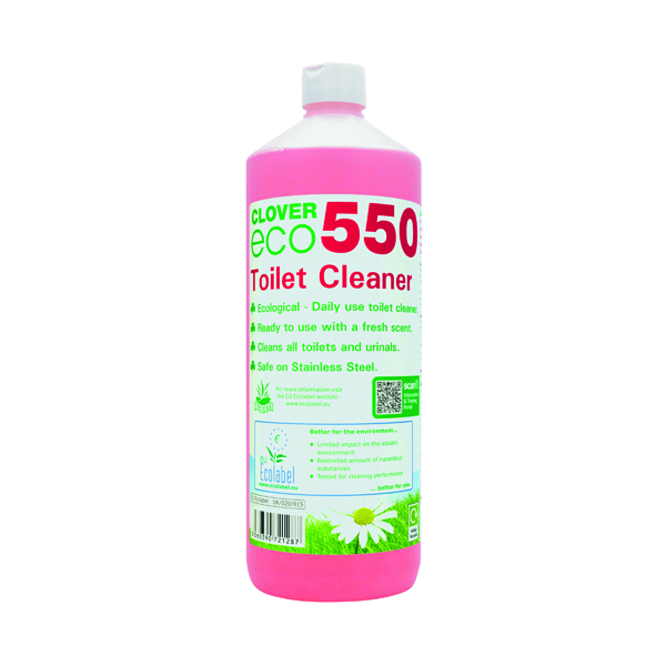 Clover ECO 550 Toilet Cleaner 1 Litre (Pack of 12) 550