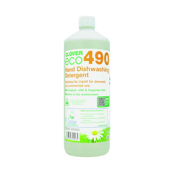 Clover ECO 490 Dishwashing Detergent 1 Litre (Pack of 12) 490