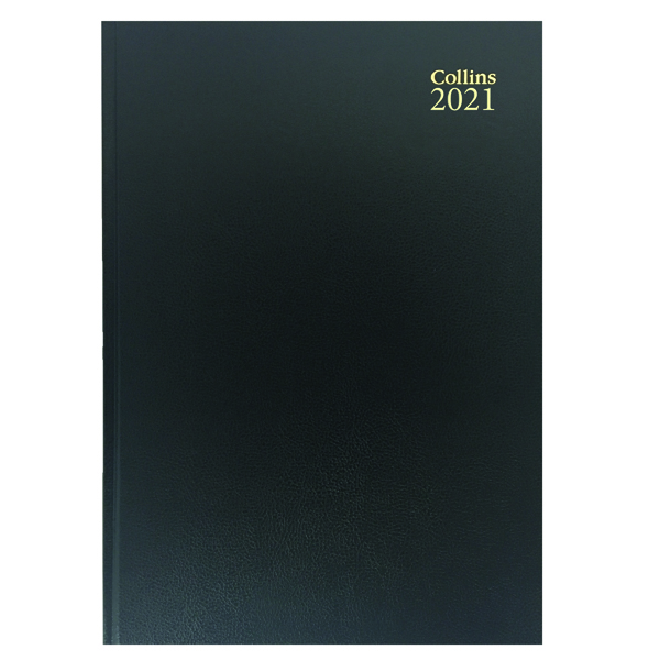 Collins Desk Diary Day Per Page A5 Black 2021 52
