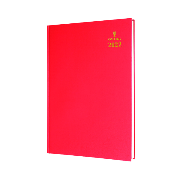 Collins A5 Desk Diary Day Per Page Red 2022 52.15-22