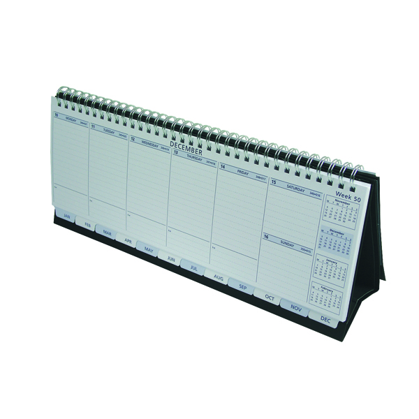 Collins Colplan 2021 Deskline Planner Week to View Landscape 115x300mm White/Black Ref CDL1 2021