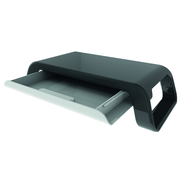 Contour Ergonomics Monitor Stand with Drawer Black