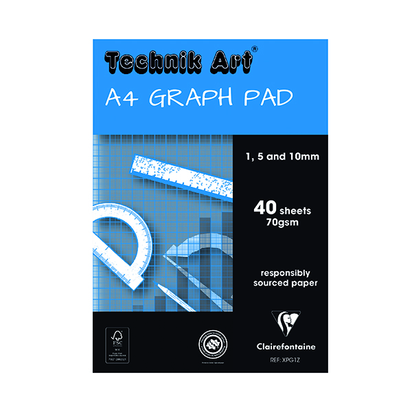 Image for Clairefontaine Technik Art 1/5/10mm Graph Pad 40 Leaf XPG1