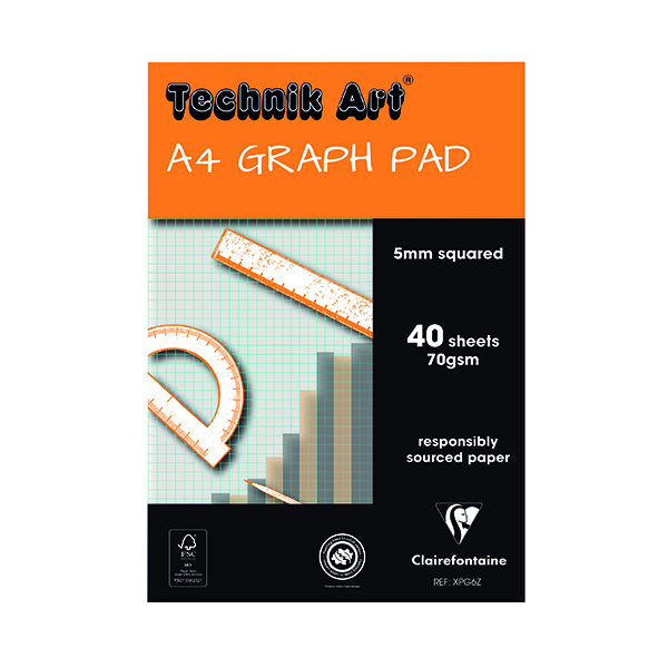 Image for Clairefontaine Technik Art 5mm Quadrille Graph Pad A4 40 Leaf XPG6