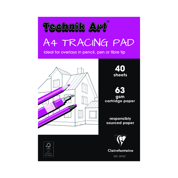 Image for Clairefontaine Technik Art Tracing Pad 63gsm A4 40 Sheets XPT4