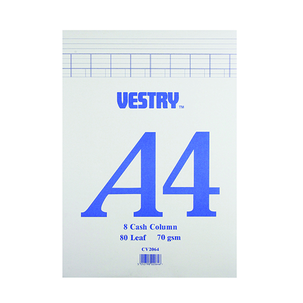 Image for Vestry 8-Column Accountancy Pad A4 CV2064