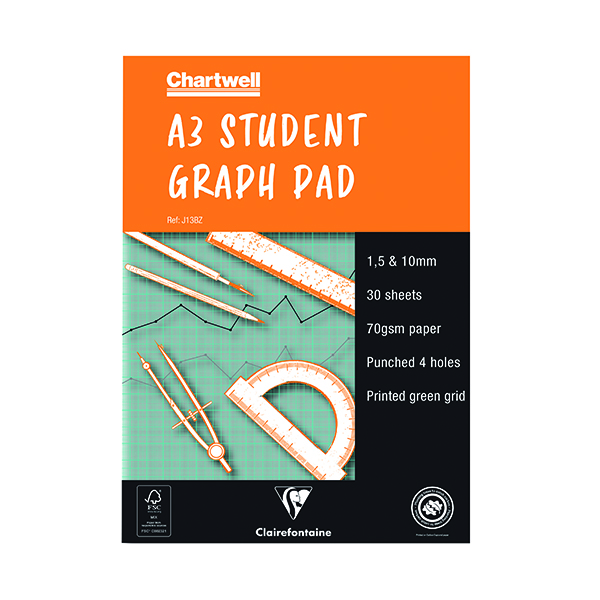 Image for Chartwell A3 30 Sheet 70gsm Paper Graph Pad (1mm, 5mm and 10mm Square Ruled) J13B