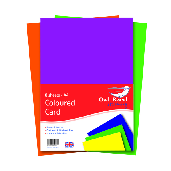 A4 Coloured Card 160gsm 8 Sheets (Pack of 10) OBS02