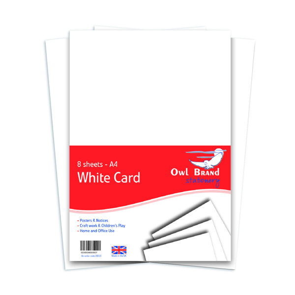 A4 White Card 160gsm 8 Sheets (Pack of 10) OBS03