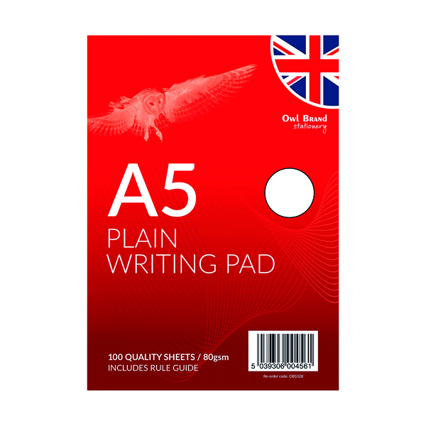 A5 Plain Writing Pad 100 Sheets (Pack of 12) OBS328