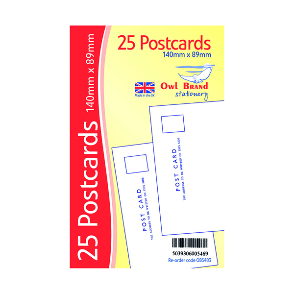 Plain Postcards x 25 White (Pack of 20) OBS483
