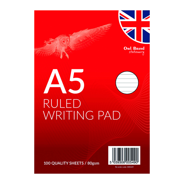 Image for A5 Ruled Writing Pad 100 Sheets (Pack of 12) OBS329