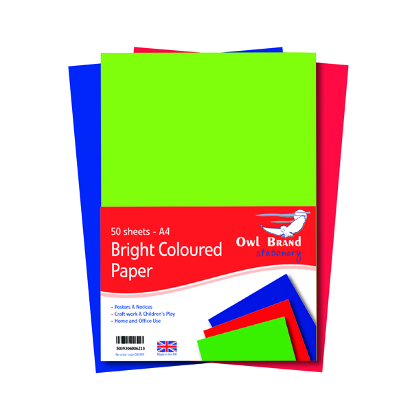Image for A4 Bright Coloured Paper 80gsm 50 Sheets (Pack of 10) OBS489