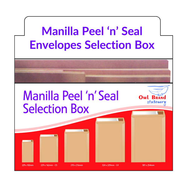 Manilla Peel n Seal Envelope Selection Box  OBS166